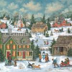 Excitement is in the air as snow begins to fall. two dogs race to greet a boy pulling his sisters on their bright red sled while behind them a snowman is brought to life as children add a bright blue scarf. Above, a horse drawn sleigh trots towards a covered bridge .