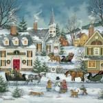 As evening approaches and families head home, windows glow invitingly with candlelight. Christmas is just around the corner and every building in this little village is decorated with bright red ribbons and greenery. Children gather to build snowmen and dream of Christmas morning.