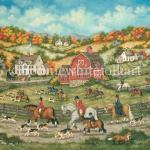 Bay , Chestnut And Gray horses gallop over fences and through a farmers field surrounded by the colors of fall. Several huntsmen and women, wanting to avoid the jumps, have taken the road that runs alongside the field . A young boy out for his first hunt , rides close to his father and seems to be the only one that notices a blur of red that runs by. The hounds continue to follow the scent as the clever fox backtracks in the opposite direction.