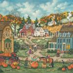 Frosty nights have brought the foliage to its peak.  Pumpkins are piled in and around a wagon along with mums that mimic the colors in the background. A you boy shows off the largest pumpkin from his grandfathers pumpkin patch to a group of neighborhood children as a black cat waits for them to leave so she can hunt for field mice.