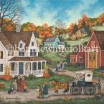 Pumpkins and cornstalks decorate an old farmhouse, echoing the colors of the trees.While one boy unloads a basket of goodies, his younger brother and sisterrun ahead to greet their grandparents. Everyone's looking forward to the Thanksgiving feast that awaits them inside.