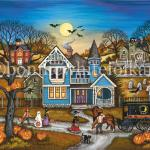 The children try to keep up with their Mother as she walks down the dirt road past the laughing halloween lanterns and spooked horse  being calmed by the driver. The bats and  cat are startled from  all the commotion in front of the old house.