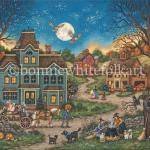 Mr. Pumpkin leads a horse with a wagon full of Trick or Treaters for a  haunted hayride. Jack o Lanterns glow while two witches stir up a tasty brew for Halloween. Three field mice to the left and one on a pumpkin to the right proceed carefully as owls are on the lookout for their next meal.