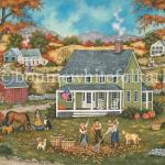 Frosty nights have brought beautiful autumn foliage to the trees in this valley but it's not long before they begin to fall to the ground. Two young boys help their father rake leaves into piles as their four dogs along with their mother   supervise the never ending job.