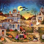 Bats fly from the hayloft of an old barn and a couple of ghosts have come out to play. It's Halloween night and local children hurry past this spooky home on their way to trick or treat. Out back the old witch is teaching her three granddaughters how to brew up a big black pot of spookiness.