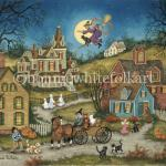 There's a full moon, the jack-o-lanterns are aglow and trick-or-treaters are out in full force this Hallows Eve. An old crone drives a wagon full of anxious children by not one,but two black cats. Mr. and Mrs. Bones peek from the safety of their home as a witch on her broomstick watches from above.