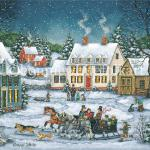Smoke pours from chimneys and snowflakes fall gently to the ground as  families head home for a warm meal by the fire. Two horse drawn  sleighs meet up along the way and a friendly race ensues.  A young boy tries to keep up while his  dogs run ahead and take the lead.