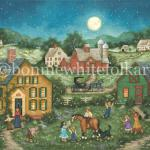 It's a warm humid, night and the fireflies have appeared. Children run barefoot across their backyard trying to catch a few to light up their rooms for the night. A little girl holds up a jar that glows softly to show her brothers as a young boy brings his net down on one of the blinking bugs.