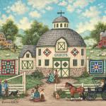 Quilt squares painted on a round barn draw attention to the colorful quilts  displayed on either side. As women shop, their husbands gossip and wait patiently.  The owners dog and cat greet customers as they arrive.