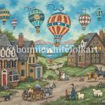 Sailboats glide across a sky blue lake while up above, a parade of colorful balloons pass through. A young boy, helping his grandfather move his sheep to another pasture, points them out. Everyone else goes about their business,oblivious to the amazing sight up in the sky.